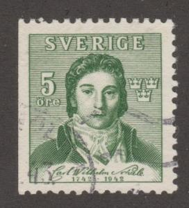 Sweden Stamp ,used, Scott# 335, green, man   #M430