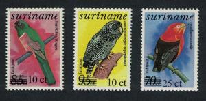 Suriname Manakin Trogon Owl Birds surch 3v SG#1306+1307+1356
