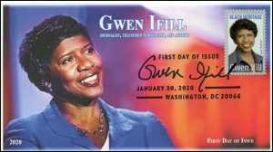 20-018, 2020, Gwen Ifill, Pictorial Postmark, FDC, Black Heritage, Journalist
