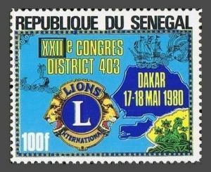 Senegal 522,MNH.Michel 715. Lions International,conference,1980.Map of Dakar.