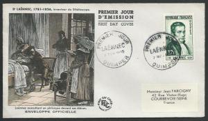 FRANCE 1952 LAENNEC commem FDC.............................................56066
