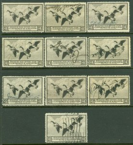 EDW1949SELL : USA 1936 Scott #RW3 Used. 10 stamps. All small faults. Retail $250