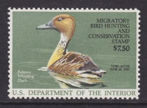 US Sc RW53 MNH. 1986 $7.50 Fulvous Whistling Duck VF
