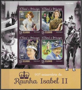 St. Thomas & Prince Islands MNH S/S Isabel II 80th Birthday 2016