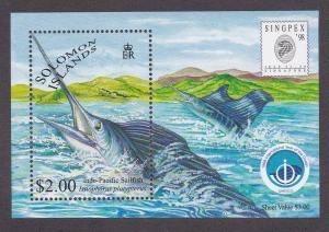 Solomon Islands # 865a, Game Fish, Souvenir Sheet, NH, 1/2 Cat.