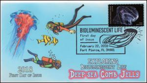 18-079, 2018, Bioluminescent Life, Pictorial Postmark, Deep-sea Comb Jelly, Firs
