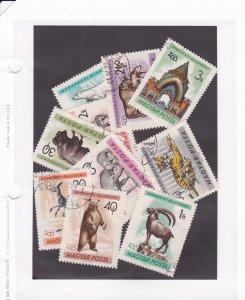Hungary # 1346-1355, Zoo Animals, Used, 1/3 Cat.