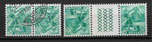 1936 Switzerland 228a Mt. Pilatus Tete Beche & Gutter Pairs used