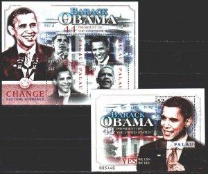 Palau. 2009. Small sheet 2817-20, bl 222. Barack Obama, President of the Unit...