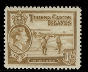 TURKS AND CAICOS ISLANDS GVI SG202, 1s yellow-bistre, M MINT.
