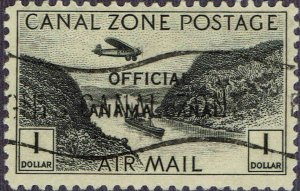 CANAL ZONE #CO7 1941 OFFICIAL CANAL ZONE OVERPRINT ON $1 AIR MAIL ISSUE-USED