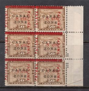 Canal Zone #20 NH Mint Block Of Six With Nice Shift