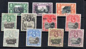 St Helena KGV mint MH collection x 11V WS14580