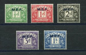KGVI BRITISH MIDDLE EAST FORCES 1942 POSTAGE DUE SET SCOTT J1-J5 PERFECT MNH