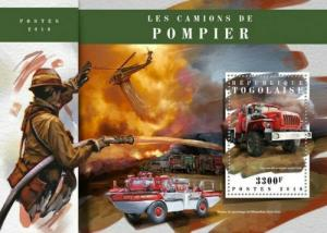 Togo - 2018 Fire Engines on Stamps - Stamp Souvenir Sheet - TG18105b