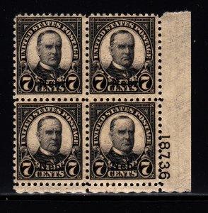 676 Fine OG Plate block of 4. Bottom pair NH