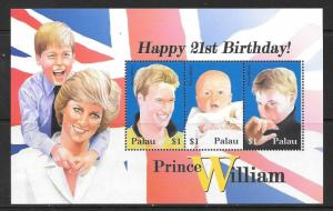 PALAU SG1977/9 2003 21st BIRTHDAY OF PRINCE WILLIAM MNH