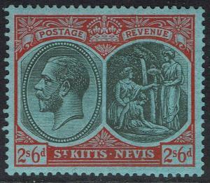 ST KITTS - NEVIS 1921 KGV BADGE 2/6 WMK MULTI SCRIPT CA