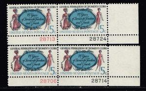 US STAMP # 1316 –1966 5c Women's Clubs COLOR SHIFTED ERROR MNH/OG PL# PAIR
