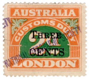 (I.B) Australia Revenue : Customs Duty 3c on 2d OP (National Geographic)