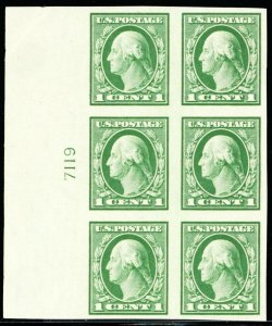 408, Mint NH Superb 1¢ Plate Block of Six Stamps -- Stuart Katz