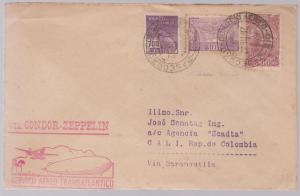 1932 Brazil Graf Zeppelin cover to Cali Colombia SCADTA rep