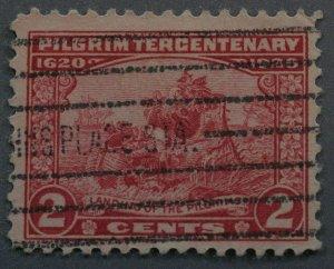 United States #549 2 Cent Pilgrim Tercentenary Place Name 'STA' Cancel Used