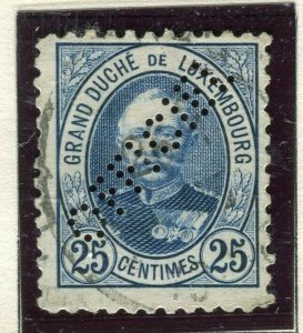 LUXEMBOURG; 1899 early Adolf OFFICIAL PERFIN issue fine used 25c.