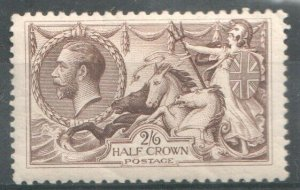 1913   S.G:400 - KING GEORGE V - 2/6d SEPIA BROWN SEAHORSE -  UNMOUNTED MINT
