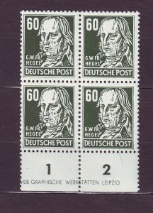 J23548 JLstamps 1953 germany DDR blk/4 mnh #133 hegel wmk 297