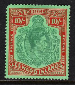 LEEWARD ISLANDS —SCOTT 114 (SG 113c)— 1949 KGVI 10/- — MH— SCV $82.50