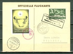 SWITZERLAND 1927 CHILDREN  AIR POST CARD...NICE VIGNETTE...#C4