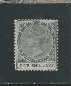 TOBAGO 1879 5s SLATE MM REPAIRED CORNER SG 5  CAT £900