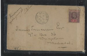 ST LUCIA COVER (P0405B)  1903 KE 1D COVER SENT CASTRIES TO BARBADOS ARR B/S