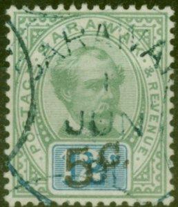Sarawak 1891 5c on 12c Green & Blue SG26c Surch Double Fine Used Scarce