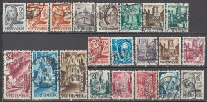 COLLECTION LOT OF #1106 WURTTEMBERG OCCUPATION 21 USED STAMPS 1947+ CV+$25