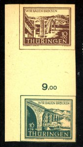 GERMANY SOVIET ZONE THURINGEN MICHEL #SZD1YY MINT VF NH SENKRECHT PAPER CAT $220
