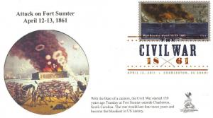 Civil War - Ft. Sumter First Day Cover, with DCP postmark