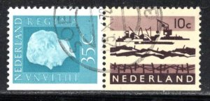 Netherlands Scott # 461A, 403, part of booklet pane, used, se-tenant
