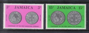Jamaica MNH 295-6 Coins On Stamps