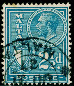 MALTA SG162, 2½d blue, FINE USED, CDS.