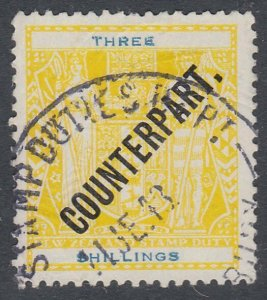 NEW ZEALAND Revenue : 3/- Arms overprinted COUNTERPART fine used............K604