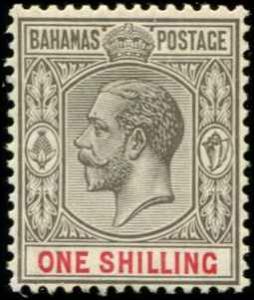 Bahamas SC# 80 SG# 123 George V wmk 4  perf 14 1Shilling MNH