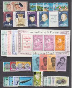St. Vincent Grenadines Sc 1//475 MNH. 1973-85 issues, 9 complete sets