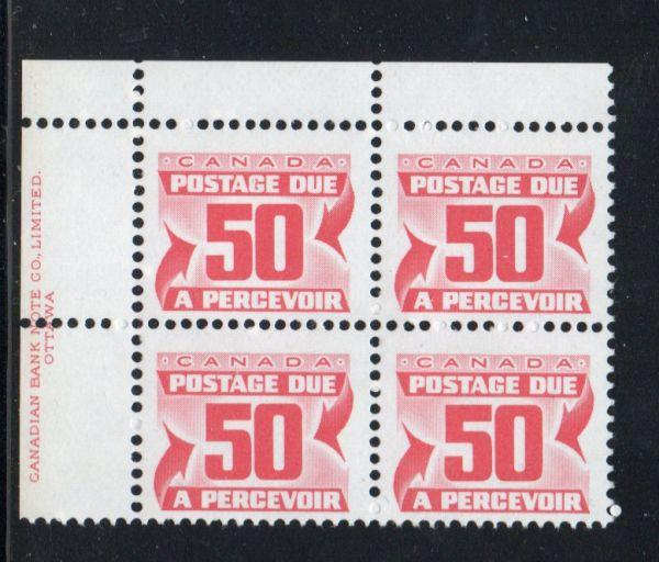 Canada Sc J40 1978 50c postage due stamp plate block of 4 UL mint NH