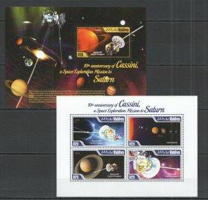 ML414 2014 MALDIVES SPACE CASSINI EXPLORATION MISSION TO SATURNE KB+BL MN