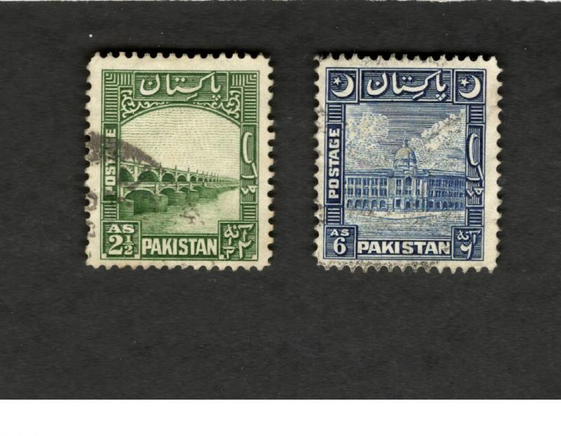 1948 Pakistan SCOTT #30 #51 Bridge Architecture used stamps