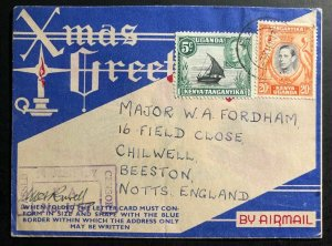 1943 Uganda Illustrated Aerogramme Censored WW2 Cover To Beeston England