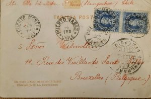 J) 1903 CHILE, COLUMBUS PAIR, POSTCARD, CIRCULATED COVER, FROM CHILE TO BELGIUM