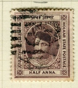 INDIA; INDORE 1889-92 early classic Holkar local issue used 1/2a. value